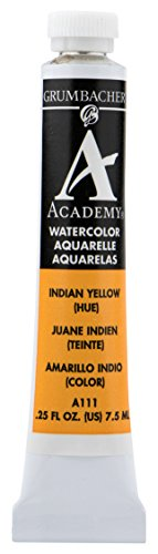 Grumbacher Academy Watercolor Paint, 7.5ml/0.25 Ounce, Indian Yellow Hue (A111)