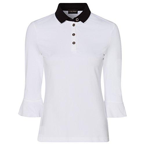 GOLFINO Damen Polo mit Volantärmeln Größe 40 (ML) Weiß