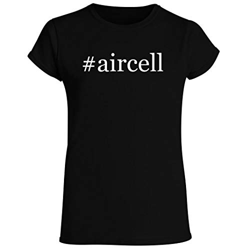 #aircell - Women's Crewneck Short Sleeve T-Shirt, Black, X-Large