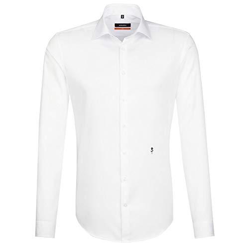 Seidensticker Herren Business Hemd Slim Fit – Bügelfreies, schmales Hemd mit Kent-Kragen – Langarm – 100% Baumwolle , Weiß (Weiß 01) , Kragenweite: 40 cm