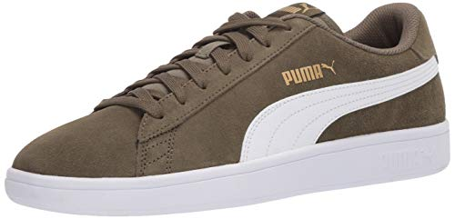PUMA unisex adult Smash V2 Sneaker, Burnt Olive-puma White-puma Team Gold, 10 US