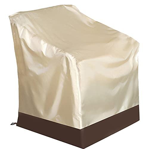 Fundas Sillas de Apilables Jardín, 210D Oxford Cubierta Protectora Impermeable, Resistente al Viento, Anti-UV Polvo/Hojas, para Patio Terraza, Protector de Muebles al Aire Libre (84 * 67 * 73cm)