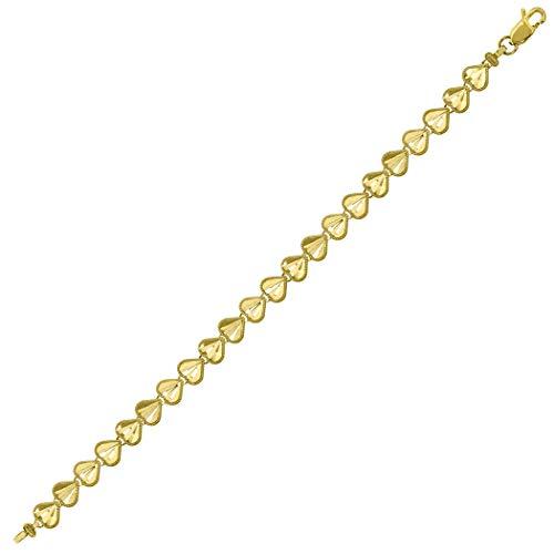 Pulsera de oro amarillo de 10 quilates para mujer, con múltiples corazones, joyería para mujeres, 18 centímetros, grado de oro superior que oro de 9 quilates