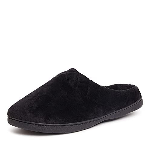 Dearfoams Women's Darcy Microfiber Velour Clog with Quilted Cuff Slipper, Black, Large