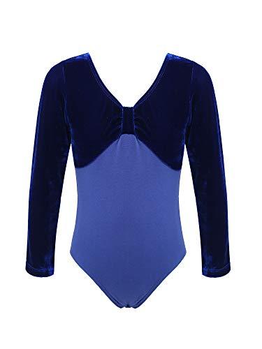 CHICTRY Maillot Niña De Ballet Danza Encaje Leotardo Mono Gimnasia Elástico Traje de Patinaje Artistico Disfraz de Bailarina para Niña 2-14 Años Azul F 13-14 años