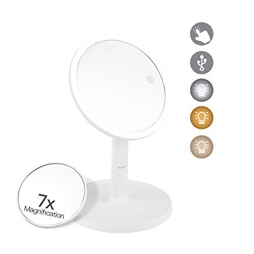 inkint Lighted Makeup Mirror Vanity Mirror Removable 7X Magnification Suction Mirror Portable Detachable Tabletop Mirror USB Rechargeable with 3 Color Lights Adjustable Brightness Touch Sensor