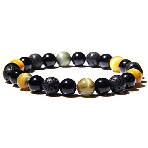 Ethnic Style Black Lava Stone Round Beads Elastic Bracelet with Many Colors Quartz Fashion Jewelry