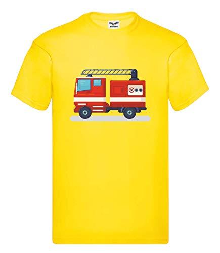 Camiseta de manga corta con diseño de camión de bomberos y alarma, para hombre y mujer amarillo L