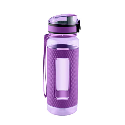 SWIG SAVVY Sports Water Bottle with Silicone Sleeve, Wide Mouth with Easy Flip Top Cap, Reusable Drinking Container with Leak Proof Lid, Great for Running, Gym, Swimming - Plastic - 16oz | Purple
