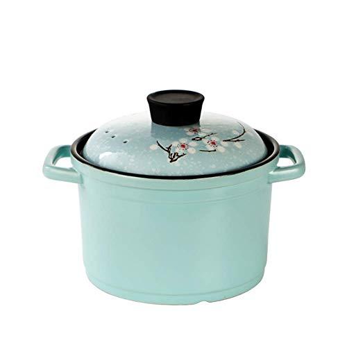 Accueil Accessoires Casserole à soupe Casserole en céramique à haute température Macaron Color Crock Pot à soupe avec couvercle de peinture Sakura anti-brûlure Convient pour cuisinière à gaz à flam