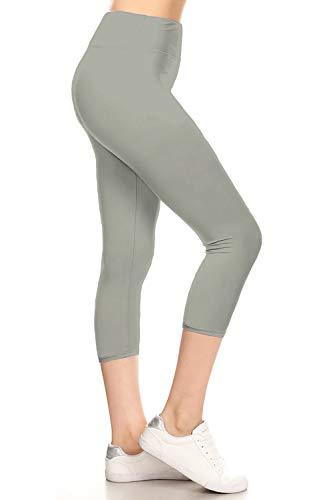 LYCP3X5X128-LIGHTGREY Yoga Capri Solid Leggings, 3X5X