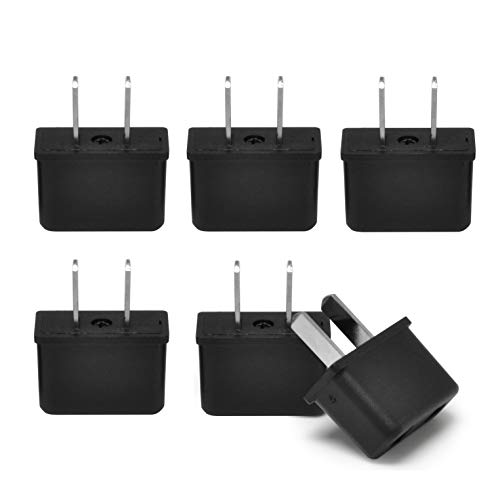 USA American Plug Adapter by Ceptics, Europe Asia China to US 2 Pin Adaptor Type C to Type A Power Wall Adapter, Japan, Canada- 6 Pack
