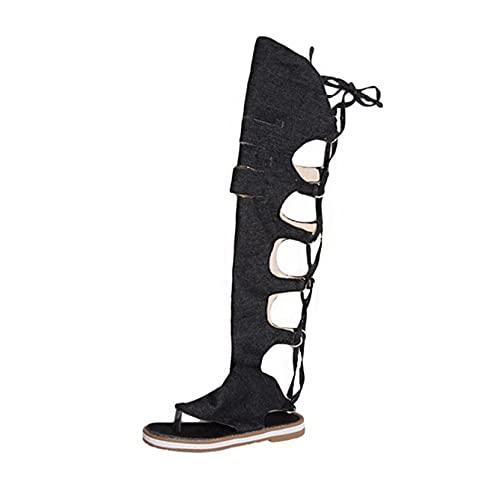 Sandalias de mujer Breathe Over Knee High Summer Gladiator Estilo romano Zapatos de playa Calzado con punta de clip Sandalias de ocio de mezclilla plana