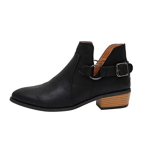 Minetom Chelsea Boots Damen Ankle Stiefeletten Kurzschaft Wildleder Leder mit Absatz Kurze Reissverschluss 2.5cm Winter Stiefel Beige Grau 35-43 Schwarz 42 EU
