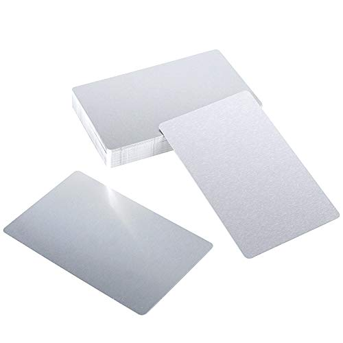 ZOENHOU 50 PCS 3.4 x 2.1 Inch Thickness 8mil Silver Metal Business Card, Blanks Finished Aluminum Blank Name Cards Metallic DIY Gift Cards VIP Cards Applicable for Customer Laser Engraving