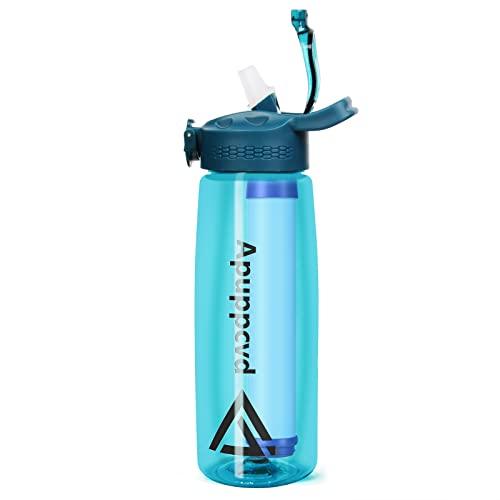 Apuppcvd Sport Borraccia Bottiglia con filtro al carbone attivo, 650ml Senza BPA Tritan con Cannuccia Bottiglia, Borracce per Palestra, All'aperto, Viaggia lontano (Blu)