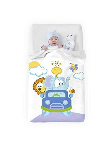 Manterol Baby Kinder VIP Kuscheldecke Giraffe, Elefant und Löwe Größe 110x140 cm Farbe Hellblau
