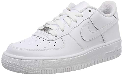 Nike Unisex-Kinder AIR FORCE 1 (GS) Low-Top, Weiß (117 WHITE/WHITE-WHITE), 36.5 EU