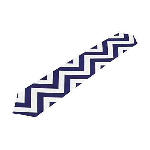 Bennigiry rayures Bleu Blanc Chevron zigzag chemin de table rectangle Polyester chemin de table Décoration de table (33cmx177 cm), Polyester, multicolore, 13x90(in)