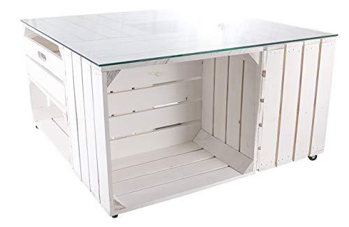 Obstkisten-online 1x Couchtisch mit Schublade weiß - 4 Kisten auf Rollen und mit Glasplatte - viel Platz für Controller, Zeitungen, Flaschen - 81x81x44cm
