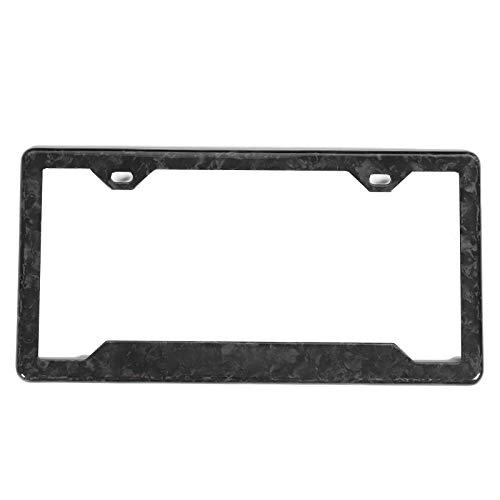 License Plate Frame Black, Short Sport License Plate Frame Forged Carbon Fiber Trim Cover Universal Decoration for Car