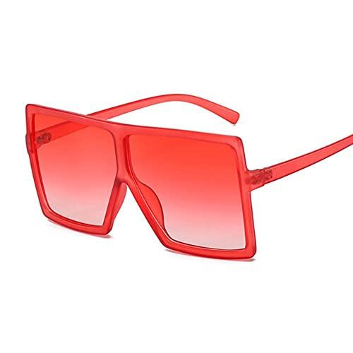 Gafas De Sol Mujeres Gafas De Sol Mujer Plaza Plana Top Gafas De Sol De Lujo Vintage Uv400 Sunglass Shoes Gafas-Double Red