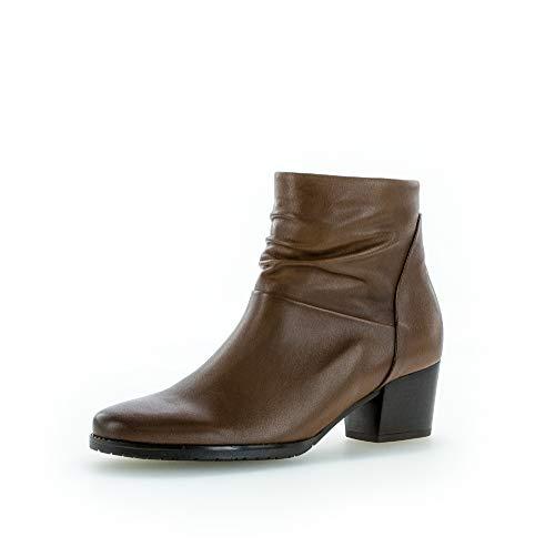 Gabor Damen Stiefeletten, Frauen Ankle Boots,Comfort-Mehrweite,Reißverschluss, Kurzstiefel uebergangsschuhe leger,Cognac/EF (Micro),39 EU / 6 UK