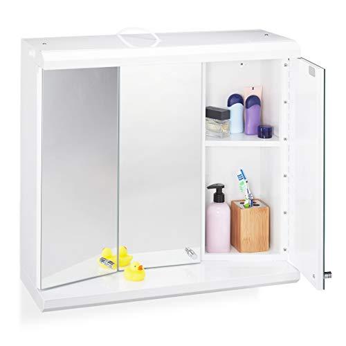Relaxdays LED spiegelkast, 3-deurs, 6 vakken, stopcontact, badkamer, hangkast h x b x d: 58 x 60 x 23 cm, wit, standaard