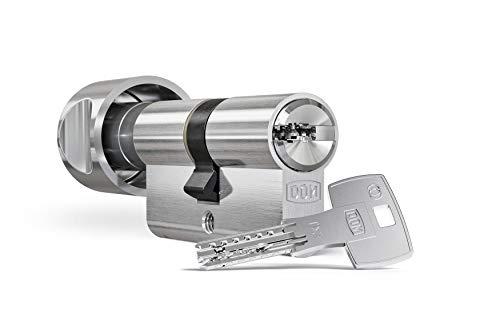 DOM ix Twido® Knaufzylinder 40/40K inkl. 5 Schlüssel - Sicherheits-Türzylinder - Sicherungskarte - Wendeschlüssel mit hohem Kopierschutz (K=Knaufseite) (Gleichschließung)