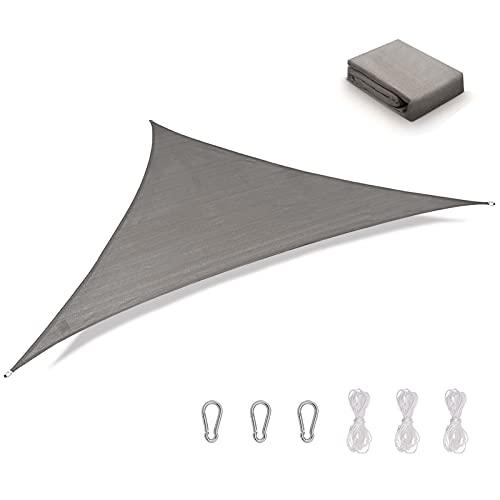HALOVIE Tenda a Vela Triangolare 5x5x5m, Tenda da Esterno in Tela Vela Ombreggiante Impermeabile e Anti UV per Terrazza Giardino Pergola Balcone Patio Bar
