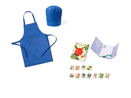 DISOK Lote de 25 Delantales + Gorros de Cocina Infantiles para Niños Azules y 3 Blocs de Notas Mariposas - Delantales Niños Juveniles Comprar en Amazon
