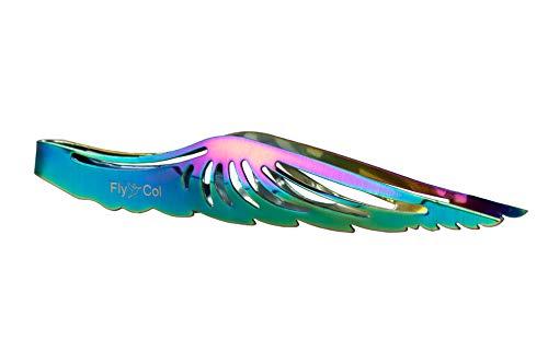 FlyCol Angel Wing Shisha Zange | Für Kohlen und Tabak | Ideal zum Kopfbau | Schischa Wasserpfeife Kohlenzange Tabakzange Kopf Zubehör XL (Rainbow)