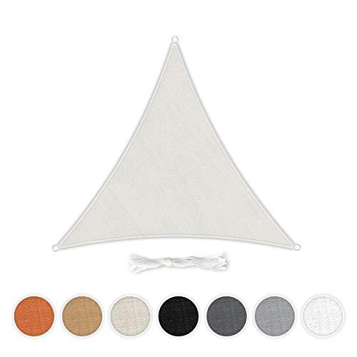 Hometex Premium Textiles Sonnensegel 3×3×3m Dreieckig inkl. Befestigungseile | Sahne | Sonnenschutz ideal für Garten, Terrasse, Balkon, Camping | Wind- & wasserabweisender Schattenspender