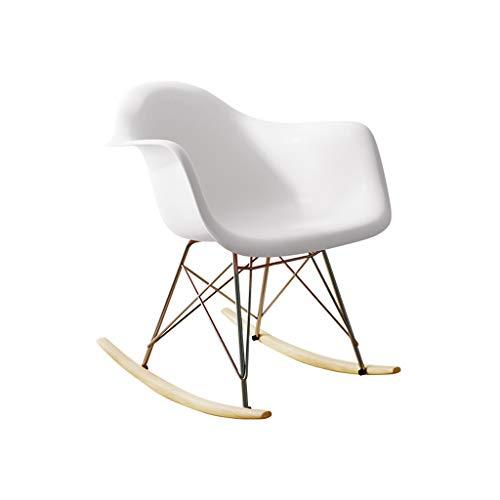 Fauteuil à bascule Chaise de salle à manger Accoudoir Dossier Chaise Chambre Salon Terrasse Chaise à bascule Loisirs Chaise d'extérieur (Couleur : Blanc)