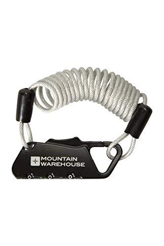 Mountain Warehouse Cadenas à câble antivol léger - À Combinaison - Auto enroulement de câble - pour Bagages, Porte, vélo, etc. Noir Taille Unique
