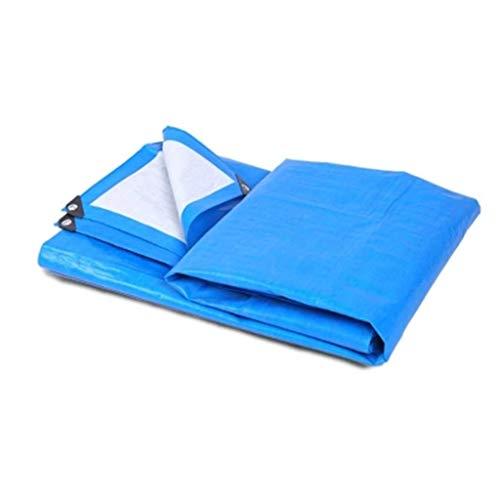 Outdoor waterdicht zeildoek verdikte regendicht doek zonnebrandcrème Plastic zeilen driewieler zeildoek zonnebrandcrème (kleur: blauw en wit, maat: 5 * 7m)