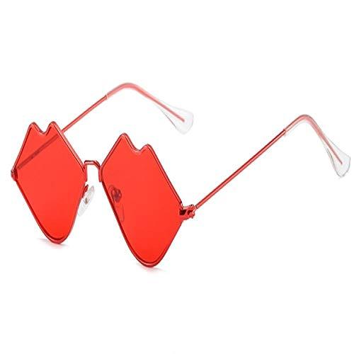 Moda Occhiali da Sole Labbra Rosse Occhiali da Sole Cuore Rosso Metallo Occhiali da Sole Festival Rave Party Occhiali da Vista Rossi