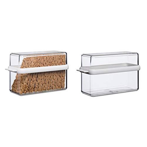 Mepal 106719030600 Knäckebrotdose Stora 1600 ml, Kunststoff, 21,7 x 9,2 x 12,9 cm, transparent/weiß (2er Pack)