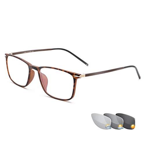 Photochrome Lesebrille im Jungen Stil, Vollformat-Sonnenbrille für Männer und Frauen, multifokale Progressive Brillengläser mit Dioptrien, ultraleichte, Bequeme Brillen