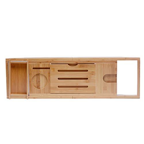 Support de baignoire Support de baignoire antidérapant Support de baignoire télescopique réglable Support de baignoire en bambou et bois (Couleur : Couleur du bois, taille : Single tray)