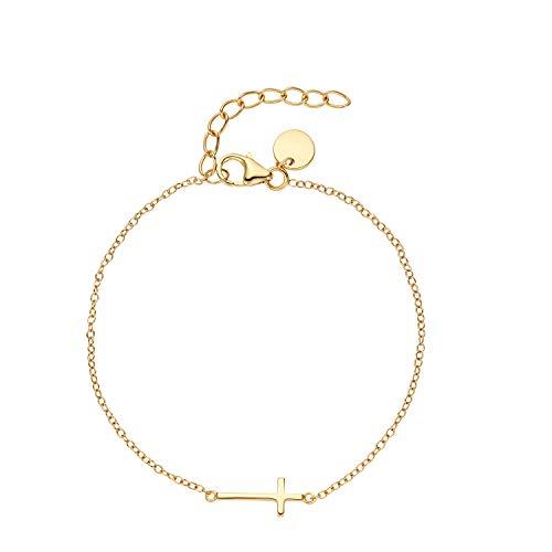 NOELANI Pulsera para mujer de plata 925 chapada en oro, cadena de ancla de longitud ajustable 'cruz'
