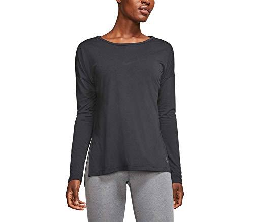 Nike Dri-fit Yoga Layer Cj9324-010 - Camiseta de entrenamiento de manga larga para mujer -  Negro -  Medium