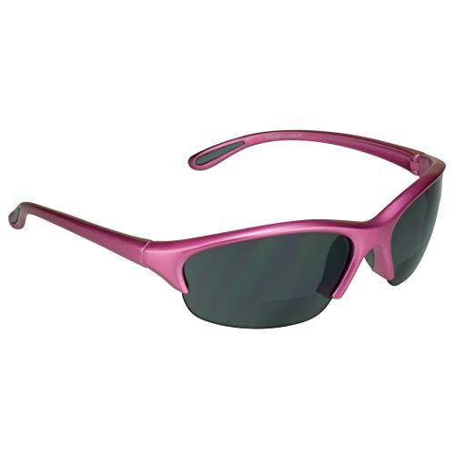 proSPORT Bifocal Sunglass Safety Reader Woman +3.00 Pink Frame Smoke Lens Lightweight Sport Sunglasses