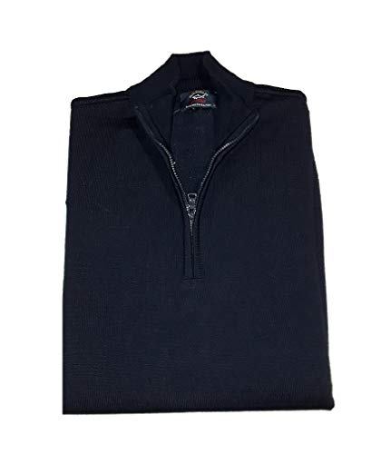 PAUL & SHARK COP1043-050 Pullover Mezza Zip Lana Merinos Extrafine 100% Blu Navy Made in Italy (L, Blu Navy)