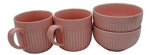 Jeu de 4 Rose Ondulé Porcelaine Mugs & Bols Set 2 Large Mugs & 2 Bols à Soupe