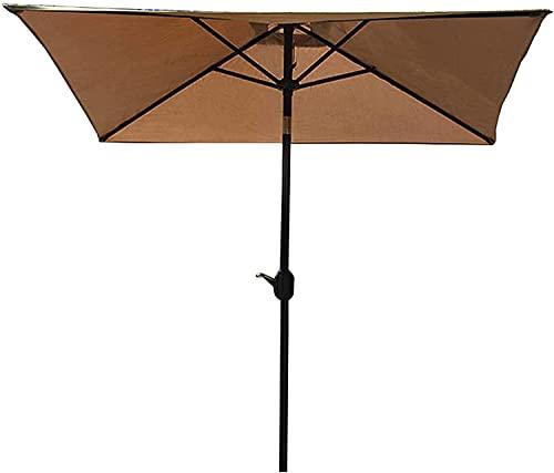 Parasoles portátiles al Aire Libre, Paraguas de Patio de balcón Rectangular con sombrillas Rectas de Cabeza, Paraguas de Playa inclinables Ajustables con Rayos Anti-Ultravioleta (Color : Brown)