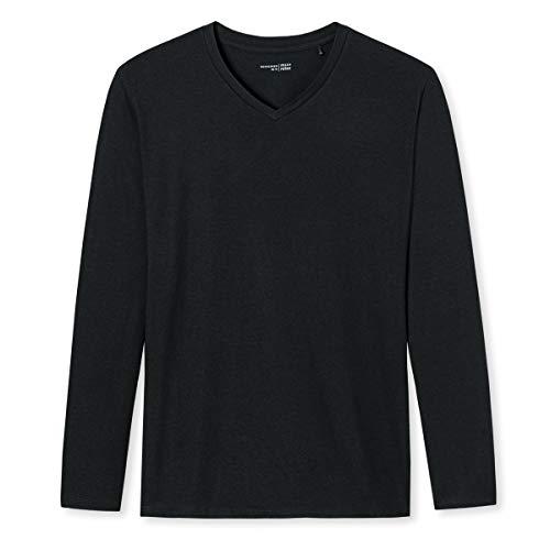 Schiesser - Mix & Relax - Schlafanzug Shirt Langarm - 163846 (52 Schwarz)