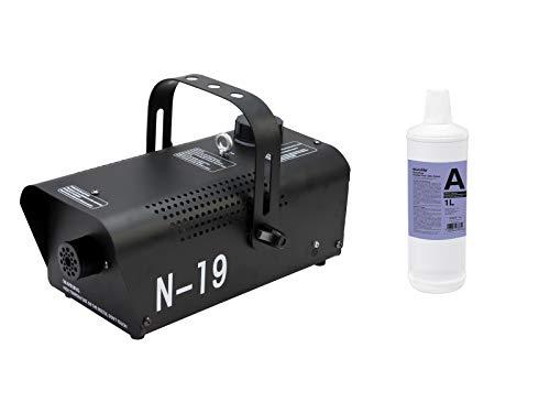 Eurolite Nebelmaschine N-19 schwarz + A2D Action Nebelfluid 1l | Kompakte 700-Watt-Nebelmaschine in Schwarz | Nebelflüssigkeit für Nebeleffekt mit geringer Dichte und Standzeit