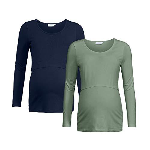 2HEARTS Lot de 2 T-Shirts de Grossesse et d'Allaitement GOTS T-Shirt de Grossesse T-Shirt de Grossesse, Marine/Vert