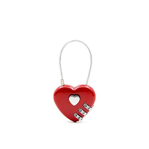 Demarkt 3 Stelliges Zahlenschloss Kombinationsschloss Vorhängeschloss Herz Form Schloss für Gepäck Schließfach Rot